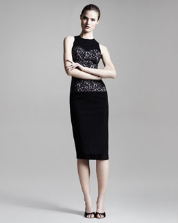 Michael Kors Floral-Center Fitted Dress