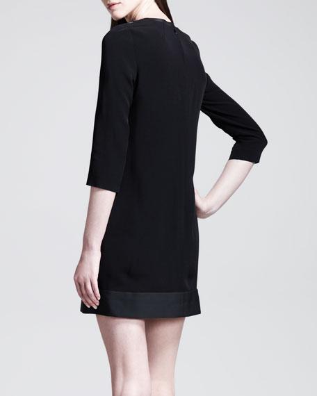 Polka-Dot Fil Coupe 3/4-Sleeve Shift Dress