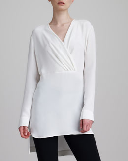 Derek Lam Silk Surplice Tunic Blouse, White