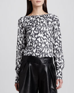 Derek Lam Printed Silk Blouse, Black/White