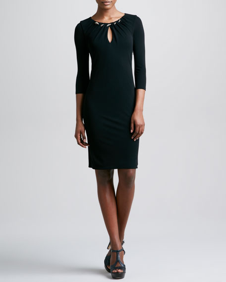 Three-Quarter-Sleeve Keyhole Dress, Black