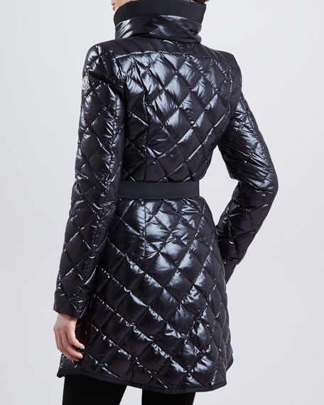 Long Belted Fur-Collar Puffer Coat, Black