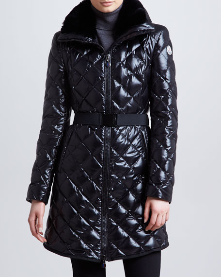 Long Belted Fur-Collar Puffer Coat, Black