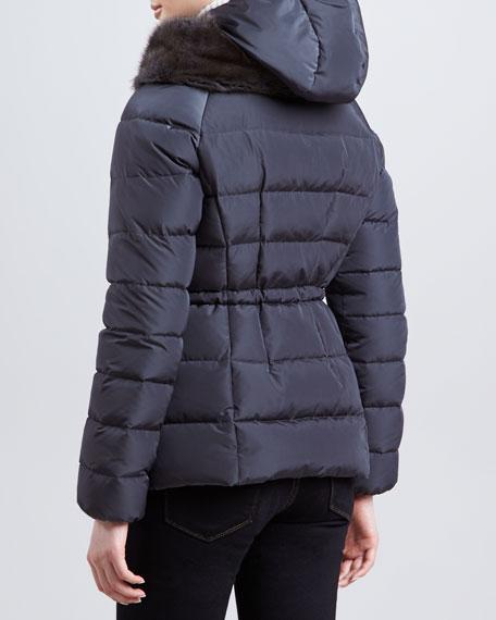 Fur-Trim Hip-Length Puffer Jacket, Charcoal