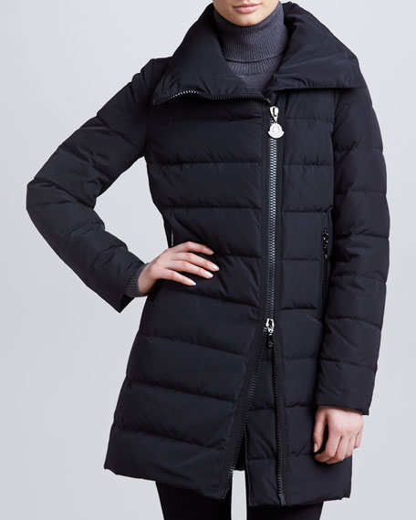 Mid-Length Puffer Coat with Asymmetric Zip, Black