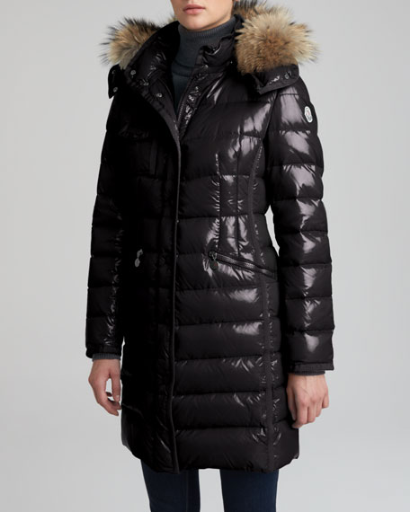 Fur-Hooded Long Puffer Coat, Black