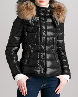 Moncler Short Puffer Jacket with Fur-Trimmed Hood