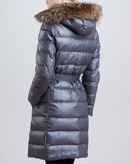 Long Puffer Coat with Fur-Trimmed Hood, Charcoal