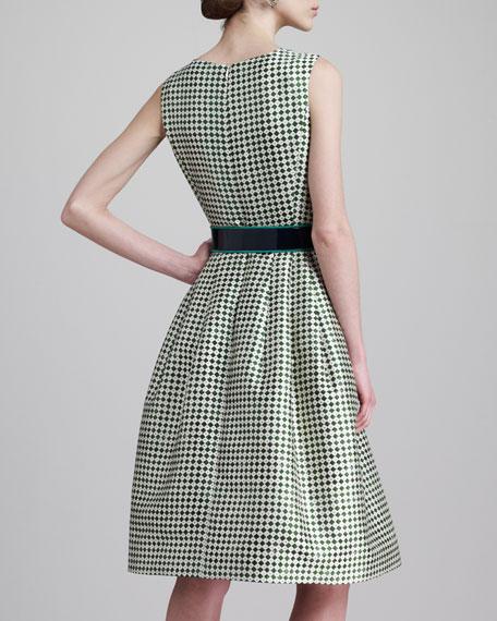 Check-Print Jewel-Neck Dress, Ivy