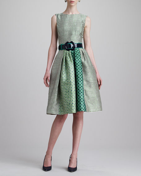Check-Print Jewel-Neck Dress, Ivy