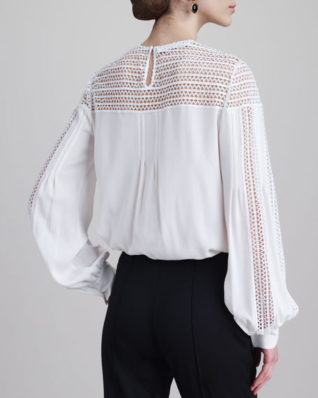 Cutout Jewel-Neck Blouse