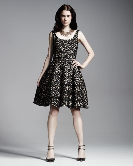 Scoop-Neck Belted Lace Dress