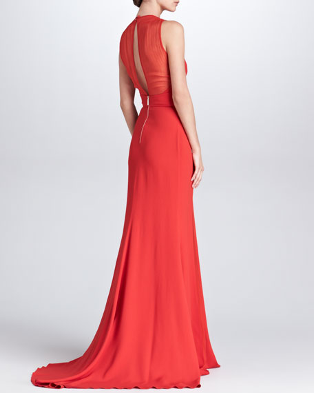 Sheer-Panel Evening Gown, Crimson