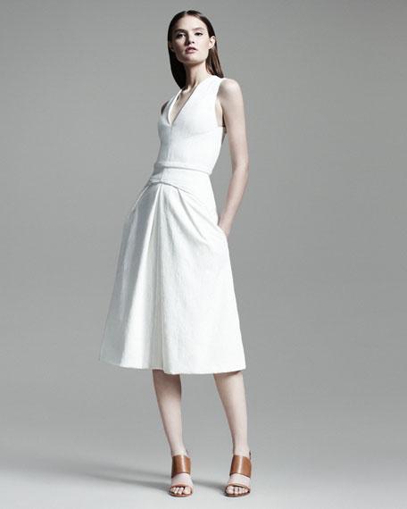 Folded V-Neck Dress, Snow