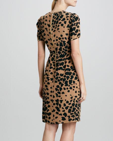 Animal-Print Silk Dress, Camel