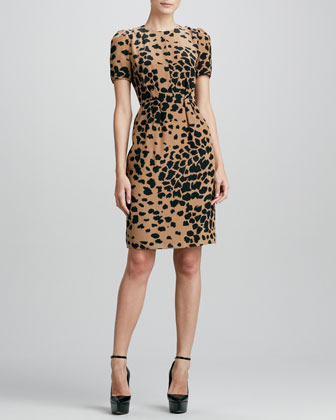 Animal-Print Silk Dress, Camel