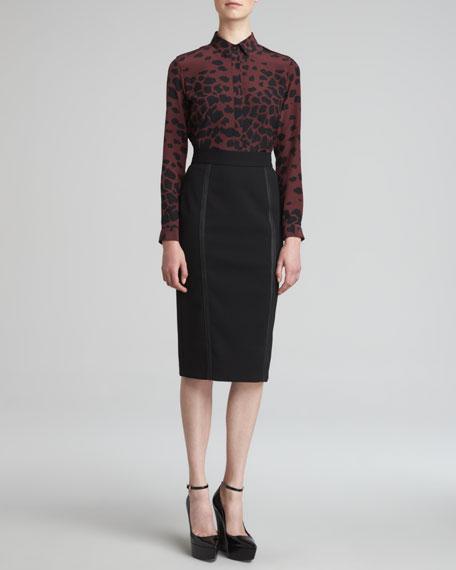 Leather-Trim Skirt