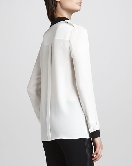 Two-Tone Silk Blouse with Pockets