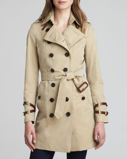 Burberry London Gabardine Leather-Detail Trenchcoat