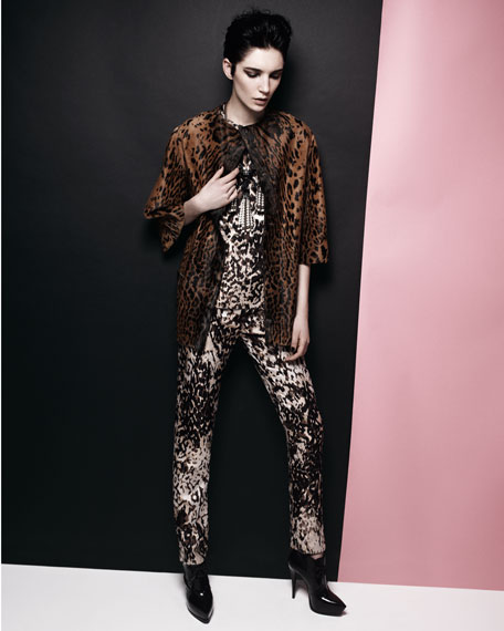 Embellished Leopard-Print Shift Dress