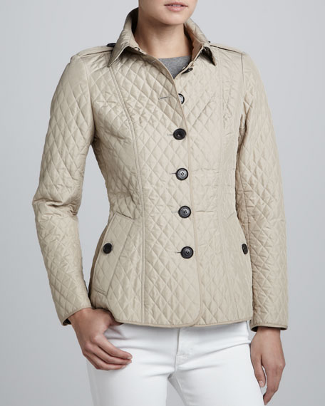 Burberry London Lightweight Quilted Check Lined Jacket
