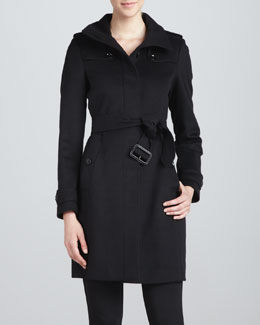 Funnel-Neck Wool-Cashmere Coat, Black