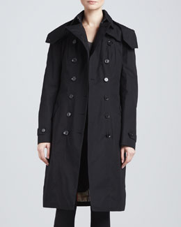 Burberry London Gabardine Double-Breasted Trenchcoat, Black