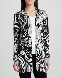 Emilio Pucci Long Printed Silk Cardigan, Black/White