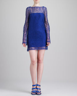Emilio Pucci Long-Sleeve Lace Minidress, Indigo Violet