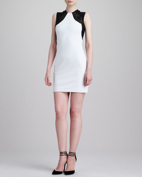 Lace-Shoulder Sleeveless Sheath Dress, White/Black