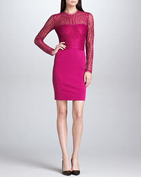 Lace-Bodice Sheath Dress, Fuchsia