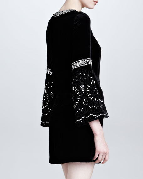 Moroccan-Inspired Velvet Dress, Black