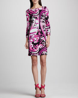 Emilio Pucci Printed Square-Neck 3/4-Sleeve Dress, Fuchsia