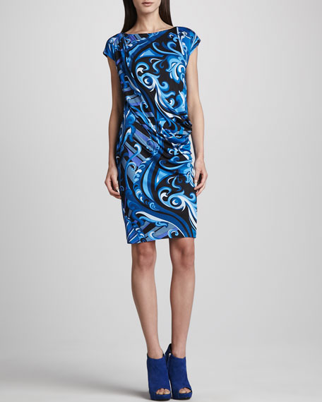 Side-Ruched Printed Cap-Sleeve Dress, Blue
