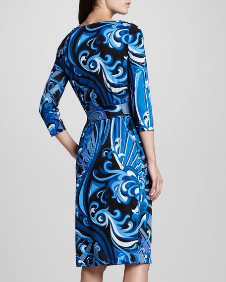 Marilyn Printed Silk Dress, Blue