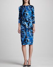 Emilio Pucci Marilyn Printed Silk Dress, Blue