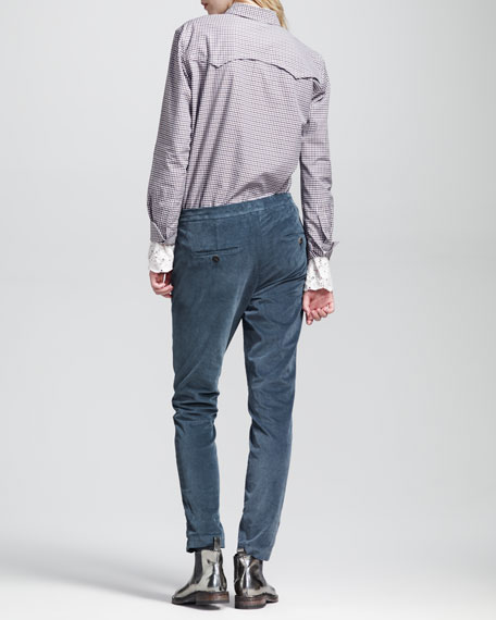 Garment-Dyed Velour Slouchy Cigarette Pants