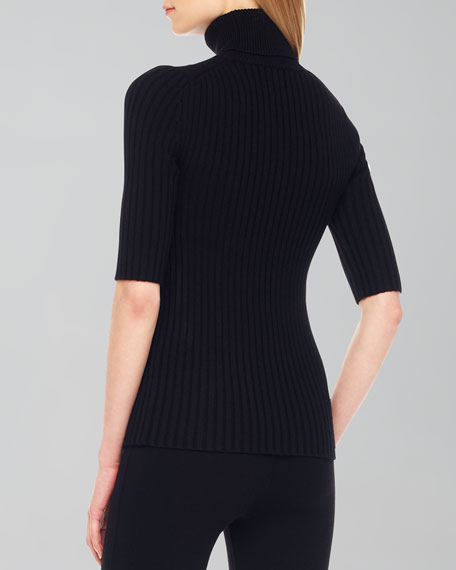 Ribbed Short-Sleeve Turtleneck