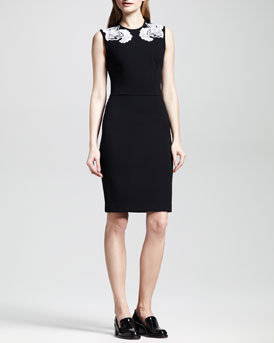 Stella McCartney Applique-Shoulder Jersey Sheath Dress