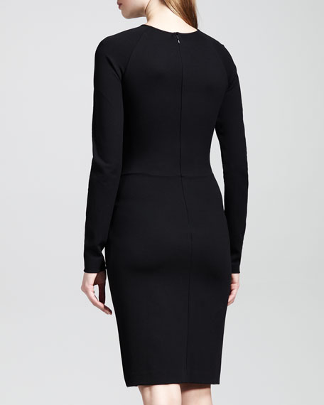 Classic Long-Sleeve Jersey Sheath Dress
