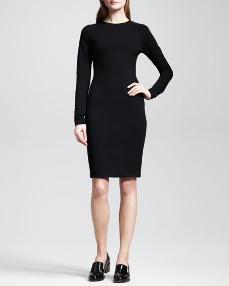 Classic Long-Sleeve Jersey Sheath Dress
