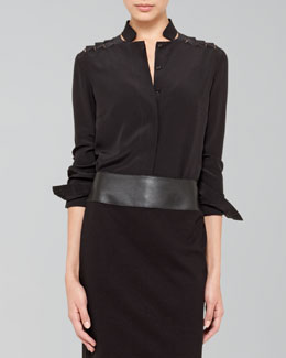 Akris punto Silk Ribbon-Shoulder Blouse
