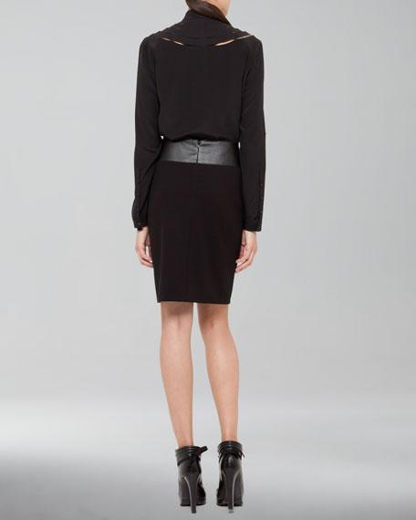 Faux-Leather Waistband Pencil Skirt
