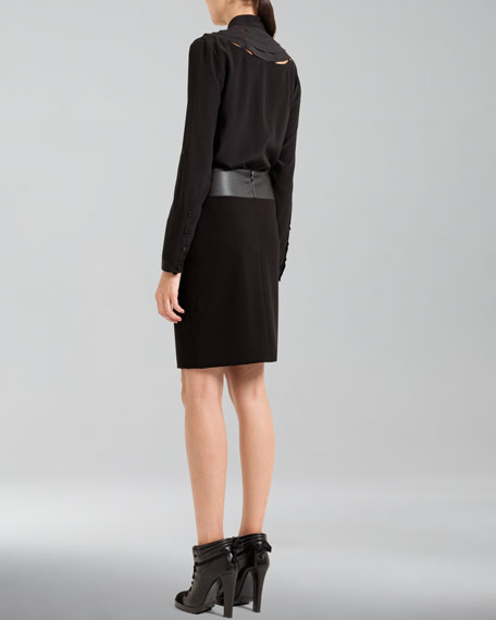 Faux-Leather Waistband Pencil Skirt