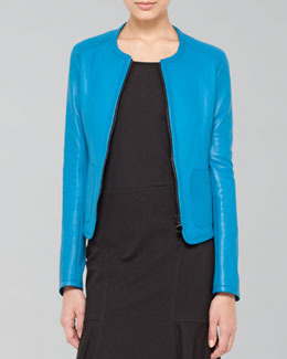Akris punto Belt-Back Leather Zip Jacket