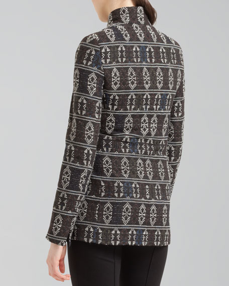 Tribal-Print Zip Jacket