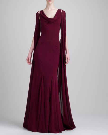 Cape-Back Gown, Deep Raspberry