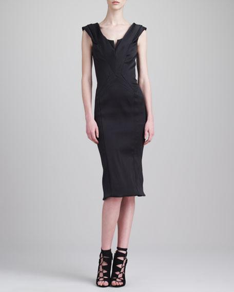 Structured V-Neck Dress, Black