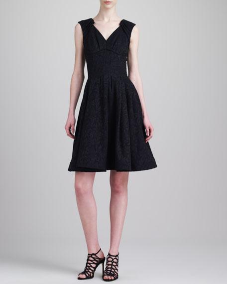 Sleeveless Jacquard Party Dress, Black