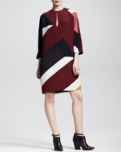 FENDI Mondrian Patchwork 3/4-Sleeve Dress